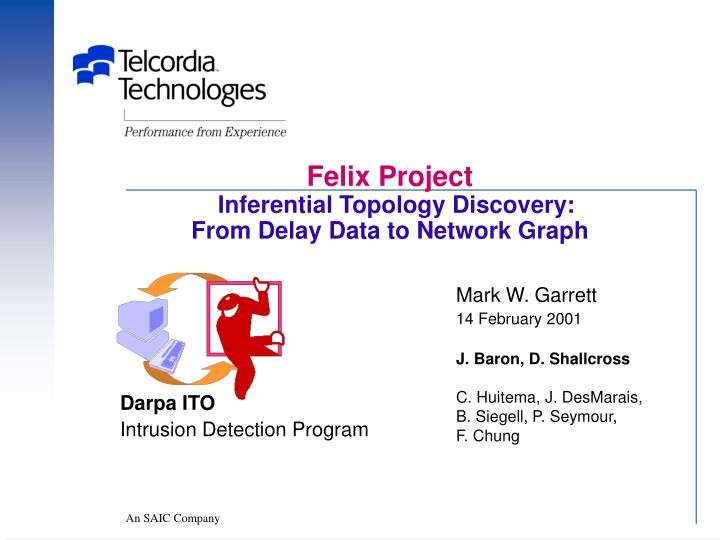 felix project inferential topology discovery from delay data to network graph n.