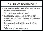 handle complaints fairly