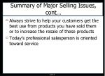 summary of major selling issues cont