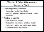 words of sales wisdom and proverbs cont