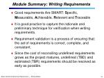 module summary writing requirements