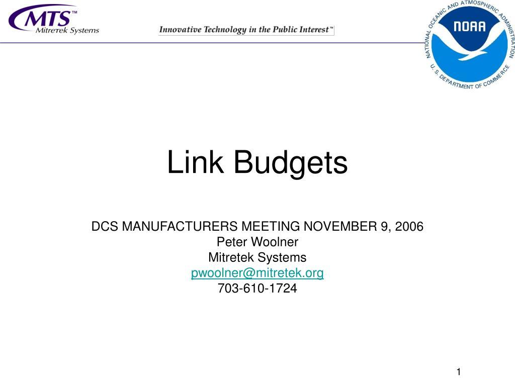 link budgets l.