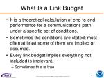what is a link budget