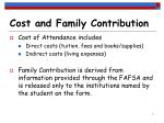 cost and family contribution