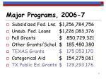 major programs 2006 7