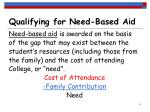 qualifying for need based aid