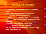 working with variables32