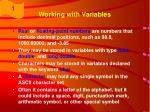working with variables33