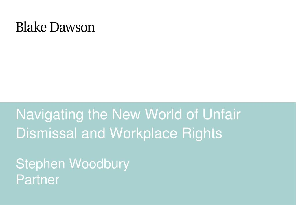 navigating the new world of unfair dismissal and workplace rights l.