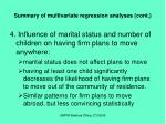 summary of multivariate regression analyses cont