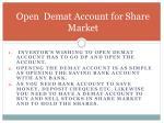 open demat account for share market