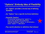 options embody idea of flexibility