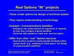 real options in projects