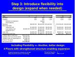 step 3 introduce flexibility into design expand when needed