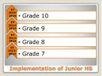 implementation of junior hs