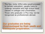our graduates are being disadvantaged by their youth and inadequate preparation6
