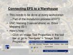 connecting efs to a warehouse