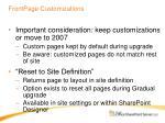 frontpage customizations