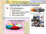 applying lessons learned34