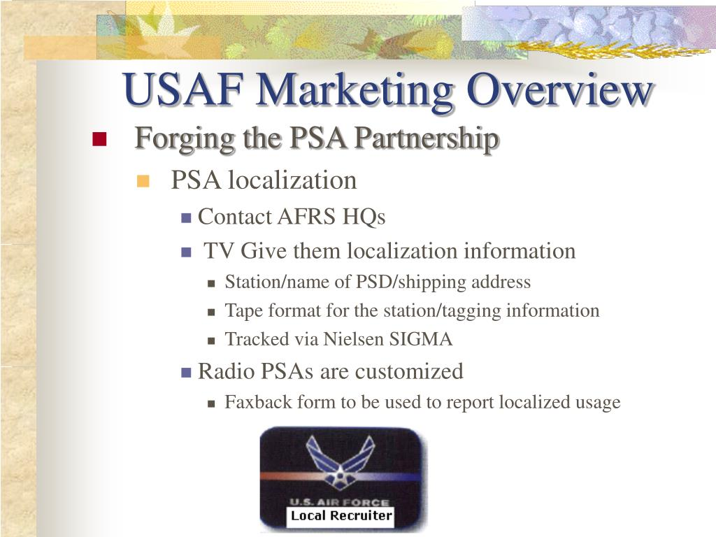 USAF Marketing Overview