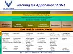 tracking vs application of snt