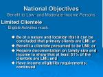 national objectives benefit to low and moderate income persons23