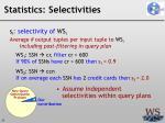 statistics selectivities