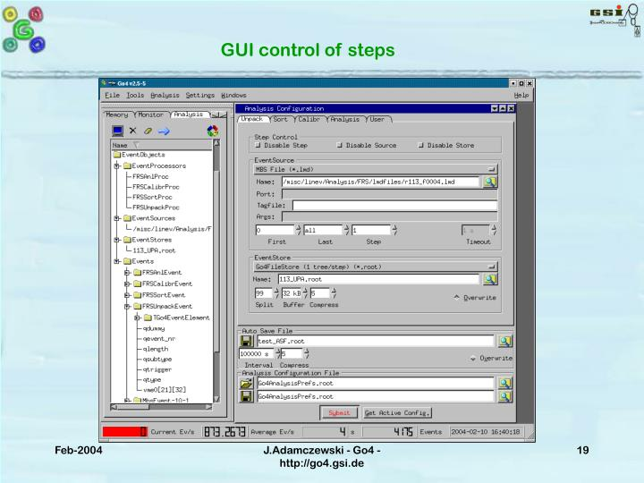 GUI control of steps