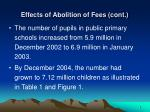 effects of abolition of fees cont