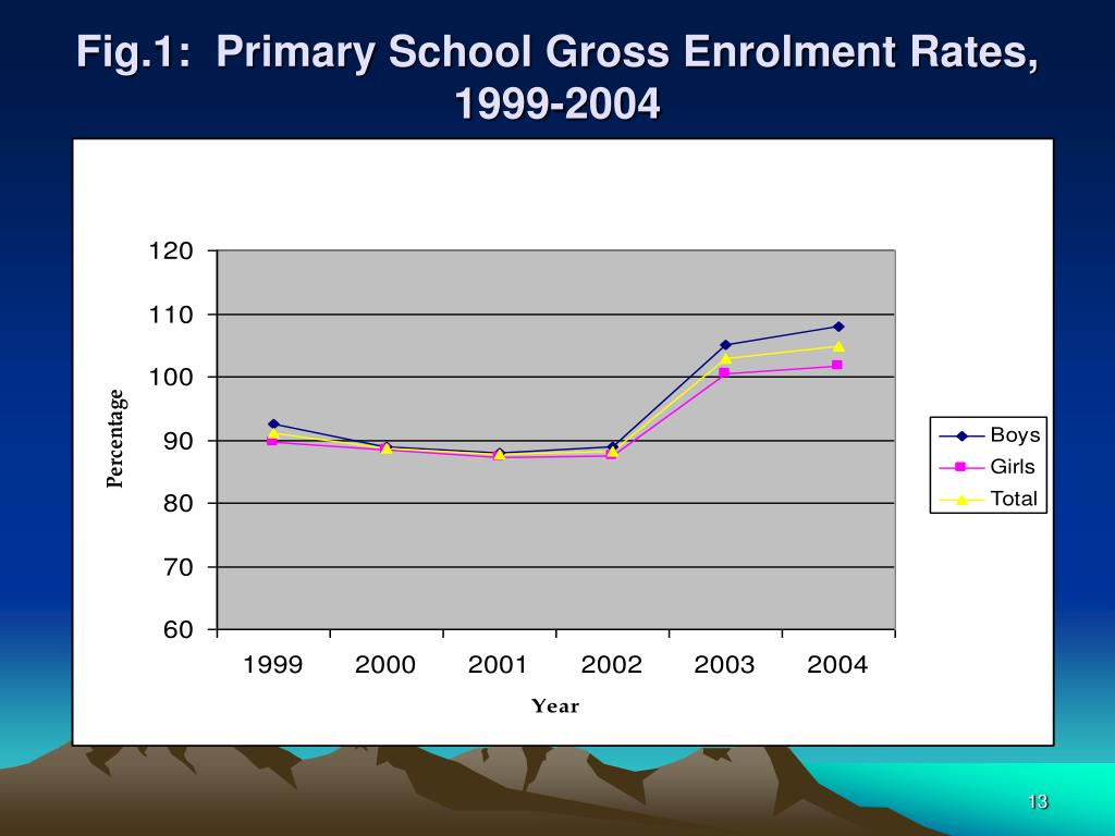 Fig.1:  Primary School Gross Enrolment Rates, 1999-2004