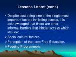 lessons learnt cont35