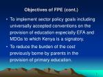 objectives of fpe cont