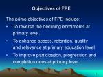 objectives of fpe