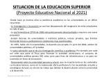 situacion de la educacion superior proyecto educativo nacional al 2021