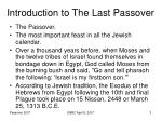 introduction to the last passover