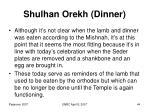 shulhan orekh dinner
