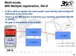 multi mode ims multiple registration rel 8