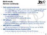multi mode service continuity
