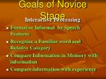 goals of novice stage57