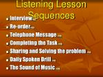 listening lesson sequences