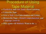 procedure of using tape material
