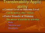transferability applicability