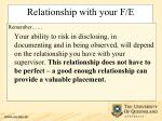 relationship with your f e