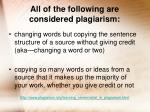 all of the following are considered plagiarism10