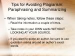 tips for avoiding plagiarism paraphrasing and summarizing