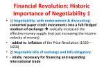 financial revolution historic importance of negotiability 1