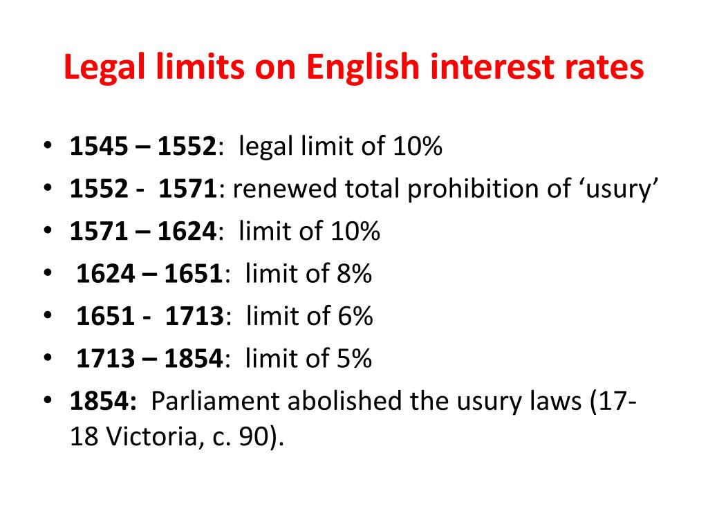 Legal limits on English interest rates