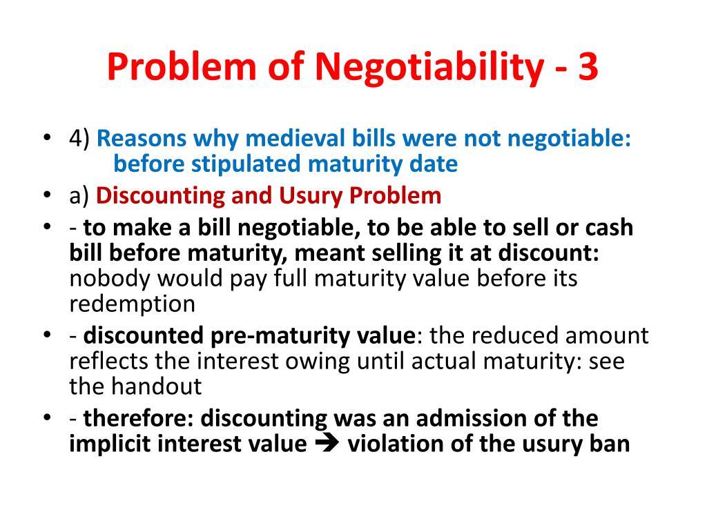 Problem of Negotiability - 3