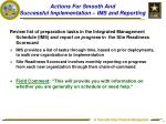 actions for smooth and successful implementation ims and reporting