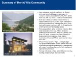 summary of morinj villa community